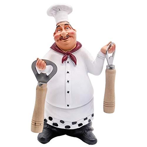 DaMohony Chef Funcional Decoración Resina Chef Decorativo Chef Figurilla Cocina Regalos de Inauguración Decoración para El Hogar Bar Tienda Restaurante Mesa de Café