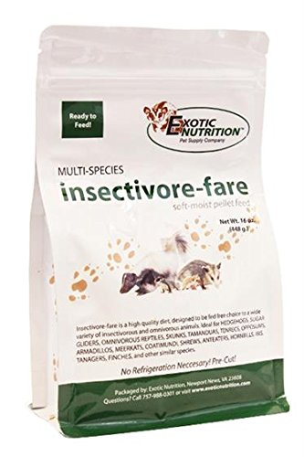 Insectivore-fare 3 lb. - Healthy Nutritional Soft-Moist Insect-Eater Food - Sugar Gliders, Hedgehogs, Skunks, Opossums, Chickens, Lizards, Turtles, Ducks, Geckos & Other Insectivores