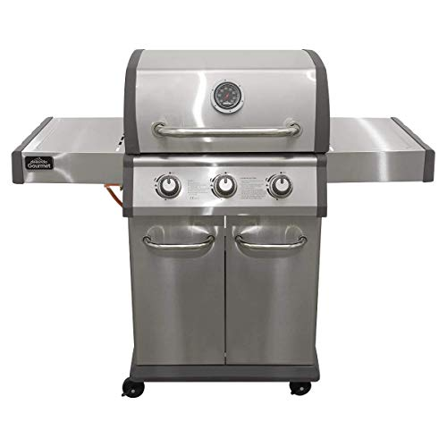 Dellonda 3 Burner Gas BBQ with Piezo Ignition, Built-In Thermometer, Side Shelves, Castor Wheels - Stainless Steel