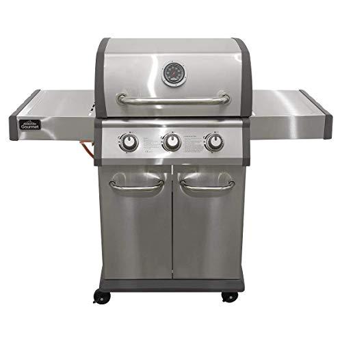 Dellonda Deluxe 3 Burner Gas BBQ Barbecue with Piezo Ignition, Thermometer, Shelves & Castor Wheels