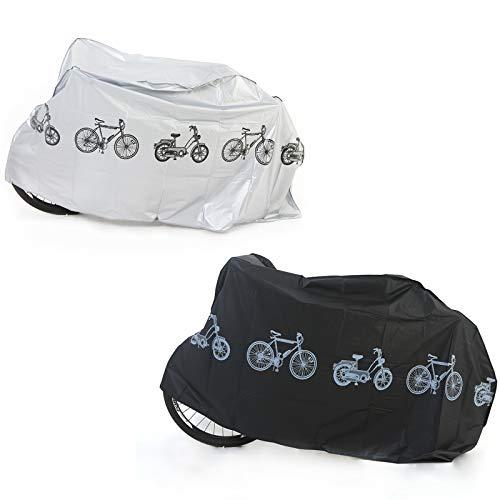 Copertura Bicicletta Impermeabile Telo Bici Copribici Copri Custodie Coprimoto Protezione Antipolvere Telo Protettivo per Biciclette Protezione da Polvere Copertura Protettiva 2 Pezzi Nero/Grigio