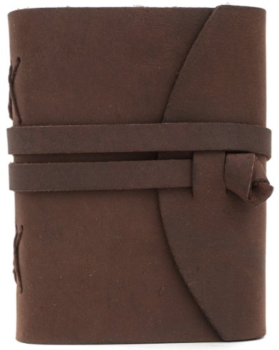 """INDIARY Luxury Wild Leather Bound Journal 100% Cotton Handcrafted Paper 5x4"""" - WILD A6 - Brown Photo #6"""