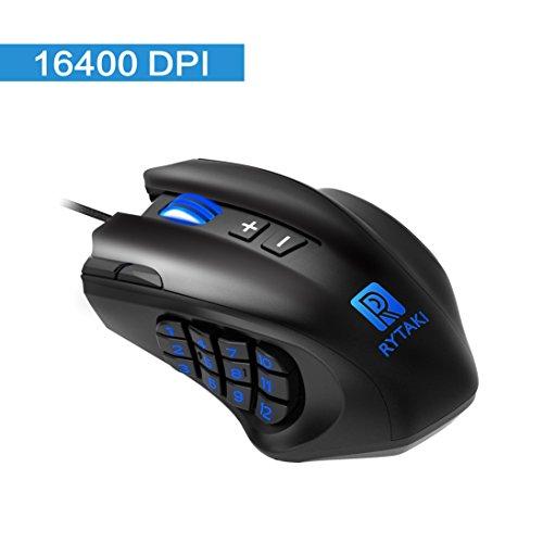 Rytaki Gaming Maus, R6 MMO Laser Maus (19 programmierbare Tasten, 16.400 DPI, LED-Beleuchtung, MMO Laser Mouse, 12 Button an der Seite, 6 einstellbaren DPI Level, 4 Polling Raten, Schweres Gehäuse)