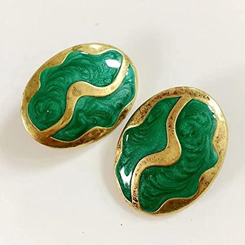 Dolce Smalto Verde Carino Orecchino Clip Vintage Grande