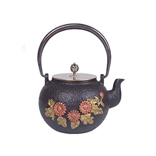GPWDSN Tetera de cerámica, Tetera Saludable Tetera Japonesa, Tetera Retro de Hierro Fundido, diseño de patrón de Flor de Sol Realista, ar.