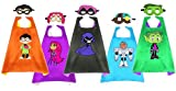 5 Pack Teen Titans Go Costume Capes & Masks Party Favor Cosplay Dress up Costumes