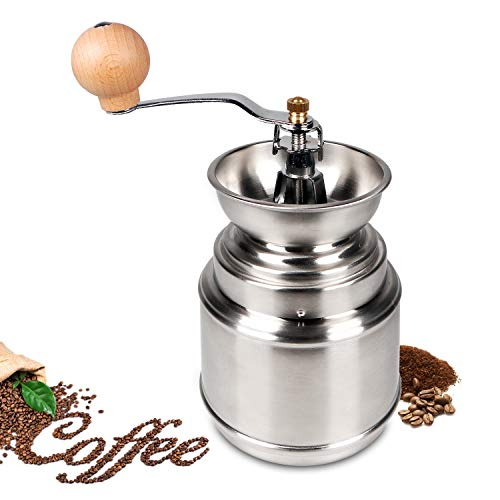 FLASNAKE Manual Coffee Grinder, Conical Burr Mill & Brushed Stainless Steel, Best for Aeropress, Drip Coffee, Espresso, French Press, Turkish Brew