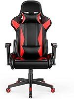 كرسي العاب معتمد من بيفما بتصميم كراسي السباق مع مسند راس قابل للفصل ومسند ظهر مرتفع مبطن، احمر