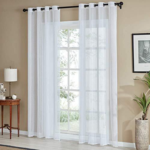 Cortinas transparentes con ojales - 1 panel blanco - Ancho 200 cm - Altura de 180 a 280 cm - Cortinas para salón o dormitorio - Art Solibra (A - 200 x 280 cm)