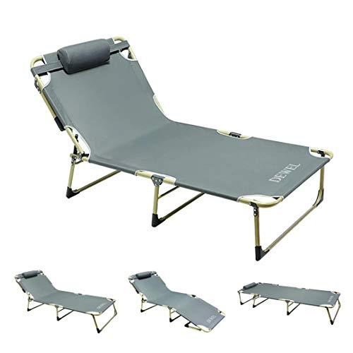 折りたたみ式ベッド リクライニングベッド/コット 194*67*28cm DEWEL デッキチェア 背面4段階調整&足元2段...