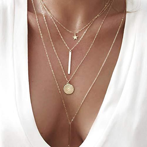 Ushiny Boho Layered Star Choker Halskette Kreis-Halsketten Modeschmuck Kette für Damen und Mädchen (Gold)