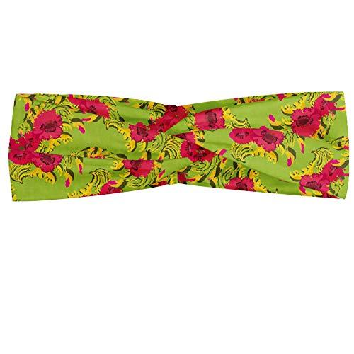 ABAKUHAUS Floral Bandeau, Fleurs de pavot répétée Vibrant Spring Meadow, Serre-tête Féminin Élastique et Doux pour Sport et pour Usage Quotidien, Pomme verte rose foncé