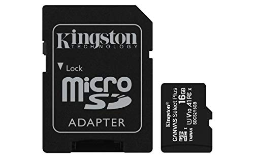 Kingston Canvas Select Plus microSD Speicherkarte, SDCS2/16GB Class 10 (inkl. SD Adapter)