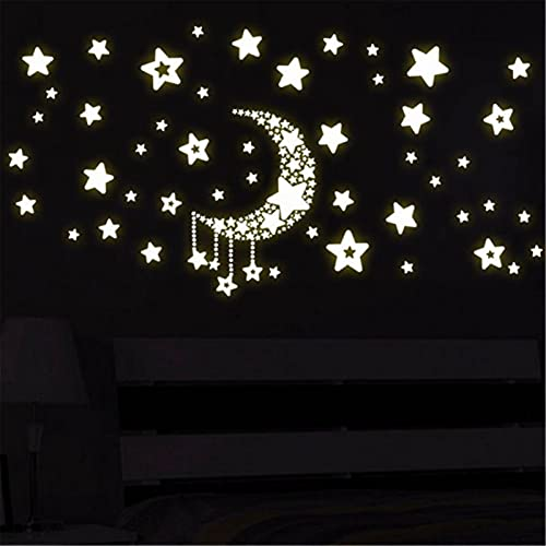ZZLLFF Luna Fluorescente Estrellas Luminosas en la Oscuridad Reflective Vinyl Etiquetas de Pared Removibles (Color : 1pcs)