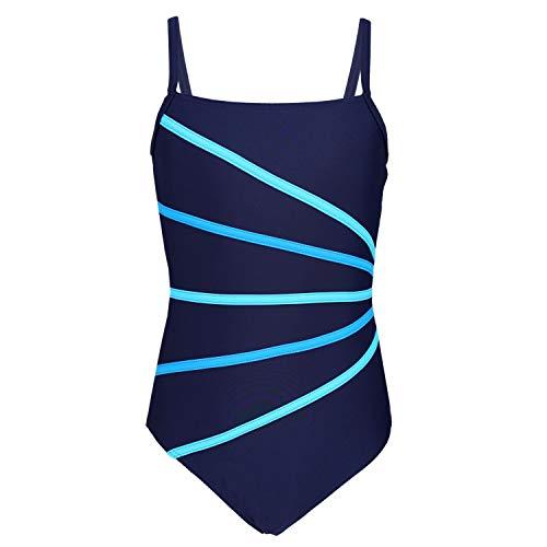 Aquarti Mädchen Badeanzug mit Spaghettiträgern Streifen, Farbe: Dunkelblau/Streifen Türkis Himmelblau, Größe: 140