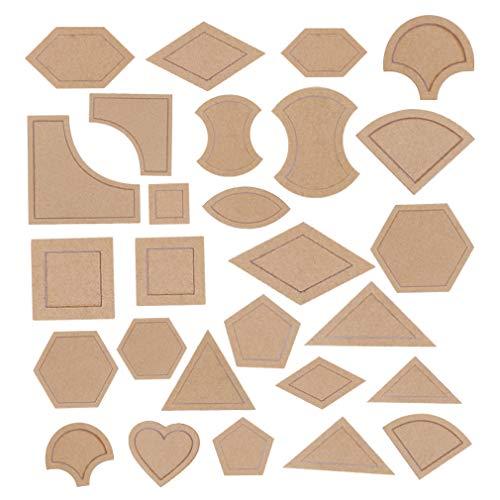 CUTOOP - Set di 54 stencil in acrilico trasparente per trapuntatura e decorazione artistica per lavori in pelle, per lavori artigianali, patchwork, righello, strumenti da cucito