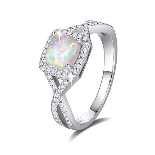 FANCIME Created Opal Rings Sterling Silver 4-Prong Halo White Opal Cubic Zirconia Infinity Engagement Wedding Ring Fine Jewelry for Women Girls Size 8