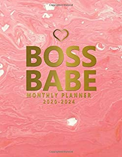 Boss Babe 2020-2024 Monthly Planner: Gold & Pink Acrylic 5 Year Monthly Organizer & Agenda with 60 Months Spread View. Five Year Calendar with ... Quotes, Notes, To Do's & Vision Boards.