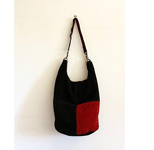 Wildledertasche damen schwarz, Schultertasche leder rot, Tasche damen umhängetasche wildleder, Tote bag leder, Schultertasche groß, Italienische handtaschen leder gross, Frauentasche groß, BBagdesign.