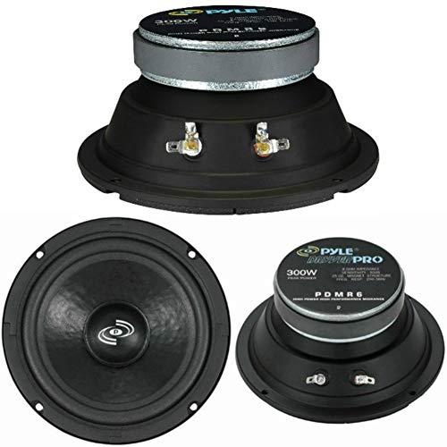 1 midrange PYLE PDMR6 Difusor Altavoz 16,50 cm, 165 mm, 150 W, RMS y 300 W MAX impedence 8 Ohm para DJ, Fiesta, Discoteca, Coche, 1 piezo