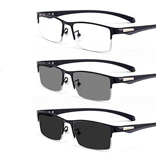 YIRC Transition Computer Occhiali da Lettura Occhiali progressivi fotocromatici Multifocus Occhiali Occhiali da Sole a Mezza Montatura polarizzati Protezione UV +2,50