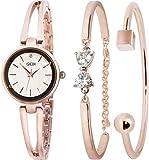 GEDI レディース 腕時計 ブレスレットウオッチ ブレスレット風 スワロフスキー (A-ローズゴールド 白)