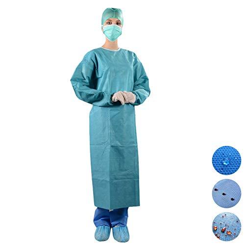 Bata quirúrgica estéril en SMM, 45 g, verde, 5 unidades, dispositivo médico de clase I, impermeable, desechable