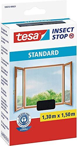 tesa Insect Stop STANDARD Fliegengitter für Fenster - Insektenschutz zuschneidbar - Mückenschutz ohne Bohren - Fliegen Netz anthrazit (1,3m:1,5m (5er Pack ), Anthrazit (Durchsichtig))