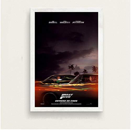 Póster De La Serie De Películas Clásicas Fast and Furious Paul Walker Vin Diesel Pintura En Lienzo De Arte Retro para La Decoración De La Pared del Hogar 50X70 Cm (19.68X27.55 In) N-466
