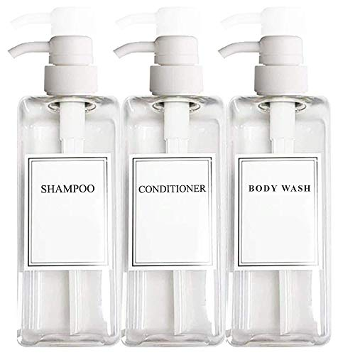 EZPRO USA Empty Plastic Pump Bottles Clear Square Shampoo Bottle Conditioner Conditioner for Shower Soap Lotion Refillable, BPA Free for Body Wash, Moisturizer, Face Cream, Liquid Hand Soap, Self-Tanner, Set of 3