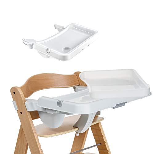 Hauck Alpha Tray - Set 3 en 1 / bandeja de comer regulable y extraíble, combinable con trona de madera evolutiva Alpha+ y Beta+ de HAUCK, con bordes elevados y portavaso, blanco