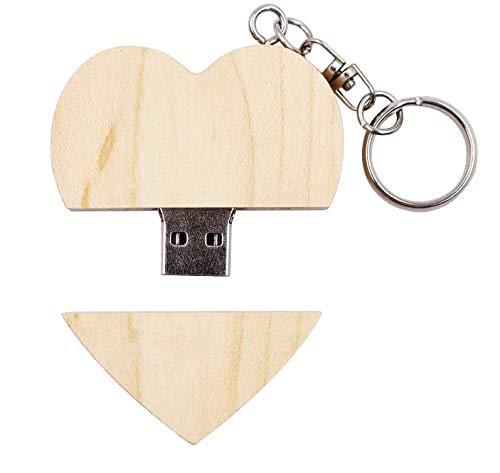Chiavetta USB 2.0 in legno massiccio da 32 GB, a forma di cuore, per album fotografico, fidanzamento, matrimonio, memoria dati in acero