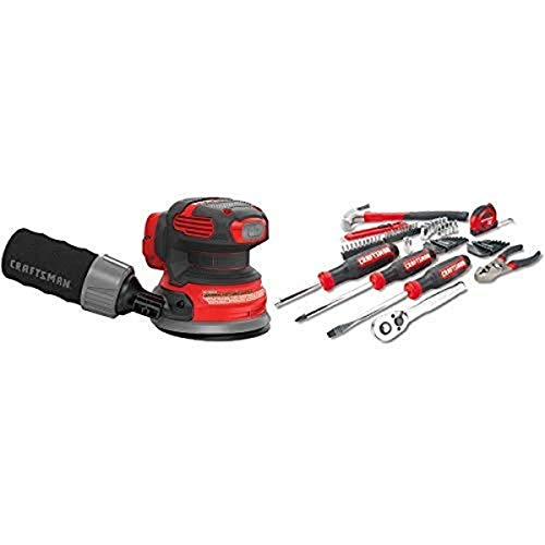 CRAFTSMAN V20 Random Orbit Sander, Tool Only with Mechanics Tools Kit/Socket Set, 57-Piece (CMCW220B & CMMT99446)