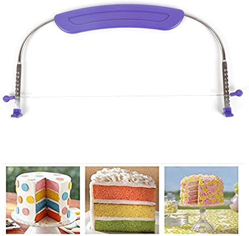 Delidge Premium Food Grade Stainless Steel Double Wires Cake Cutter Slicer Leveler Adjustable 13 X 5 Inches Dishwasher Safe Silver