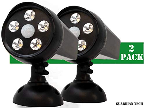 Guardian Tech Security Torch LED Spotlight [2-Pack] | Solar Motion Detector Lights for Outside | High Powered Spot Light | Mountable Bright Wireless Spotlight Outdoor