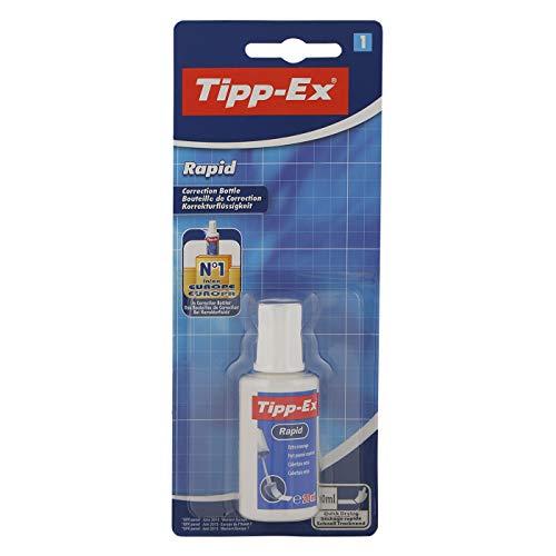 Tipp-Ex Rapid Korrekturfluid Blister à 1x25ml mit Auftragsschwämmchen für präzise Korrekturen, schnell trocknende Korrektur Flüssigkeit