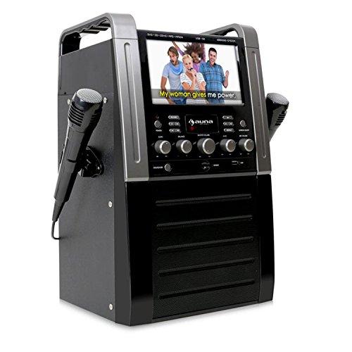 Auna Karaoke Komplett-Set für Kinder mit Dockingstation, USB-Port, Farbdisplay und Lautsprecher + Mikrofon und CD/DVD-Player schwarz