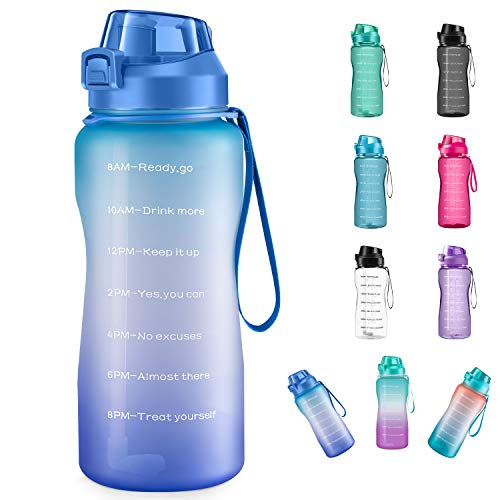 4AMinLA Motivational Water Bottle 64/100oz Half Gallon Jug with Straw and Time Marker Large Capacity Leakproof BPA Free Fitness Sports Water Bottle (Blue+Purple, 100oz)