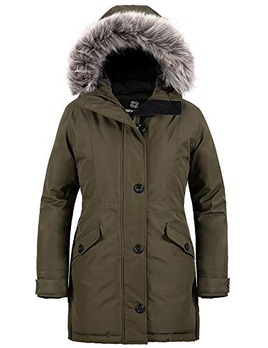 Wantdo Women's Extreme Cold Insulated Thickened Parka Coat Army Green M
