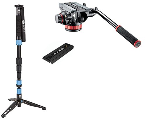 Sirui SUP204SR Photo/Video Monopod w/Manfrotto MVH502AH Pro Tripod Head with Flat Base, Fluid Pan, Drag System and Ivation QR Plate
