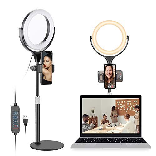 Neewer 8 Pulgadas Anillo de Luz para Selfies con Soporte y Soporte para Teléfono, Anillo de Luz Giratorio de Escritorio con Base de Disco Estable / 3 Modos de Luz / 10 Brillo