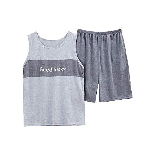 DFDLNL Ropa de Dormir Informal Chaleco de salón para Hombre Pijama de algodón Puro Completo para Hombre Traje de Pijama Pantalones Cortos sin Mangas Conjunto de Pijama XXXL