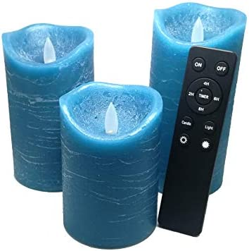 3 Pack Real Wax Flameless Candles Battery Operated LED Pillar Flickering Realistic Electric product image