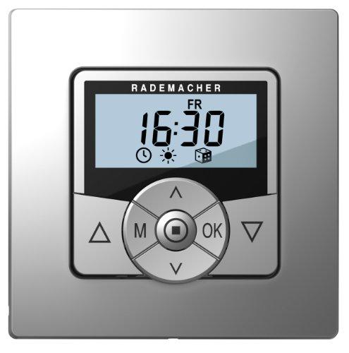Rademacher 3650 07 22 Troll Comfort 3D Zeitschaltuhr, 3-Draht-Technik, Steuerung Rollladenmotor mit Raffstore-Funktion, Astroprogramm und Zufallsfunktion, für Rollladen, Aluminium/Grau