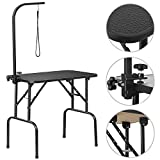 YAHEETECH Foldable Pet Dog Grooming Table with Adjustable Height Arm...