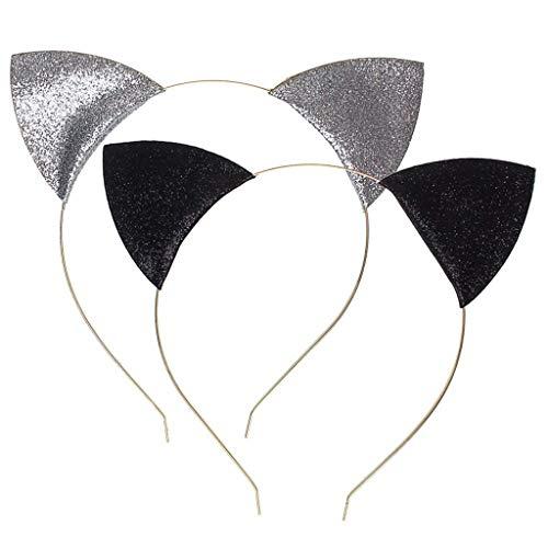 Diadema de Orejas de Gato con Purpurina para Mujer,Sombrero Curvo de Punto Brillante con Diadema para Cosplay