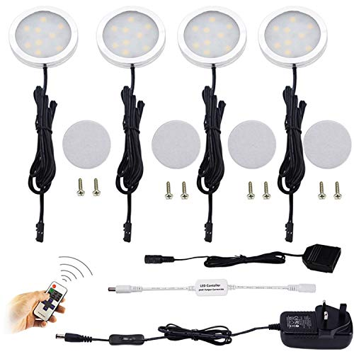 AIBOO LED Kitchen Under Cabinet Lighting Kit Dimmable with Wireless RF Remote,UK Plug,4 Pack Round Display 240V LED Puck Lights,8W Under Cupboard Counter Shelf Lights(Warm White 2700K)