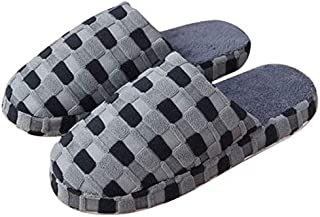 YANGLAN Soft plush cotton slippers cute non-slip shoes house interior bedroom slippers Household slippers (Color : E, Size : (44~45))