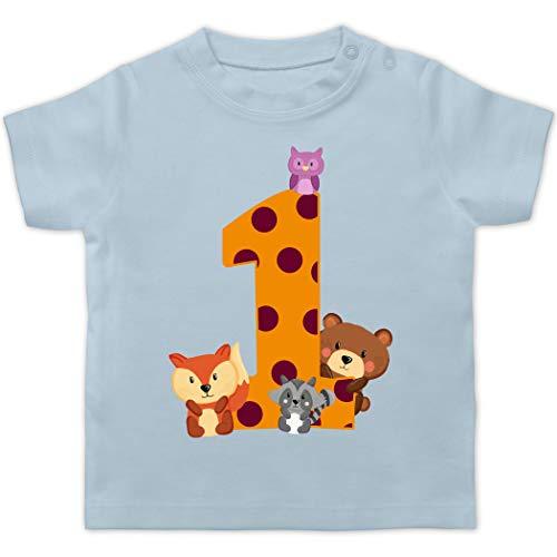 Geburtstag Baby - 1. Geburtstag Waldtiere - 12/18 Monate - Babyblau - Shirt 1. Geburtstag mädchen ich Bin Schon 1 - BZ02 - Baby T-Shirt Kurzarm