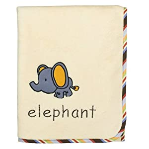 Bacati – Elephants Embroidered 30 x 40 inches Off White Plush Blanket with Cotton Stripes Piping for Baby Boy or Girl, Infant or Newborn Receiving Blanket for Crib, Stroller, Travel